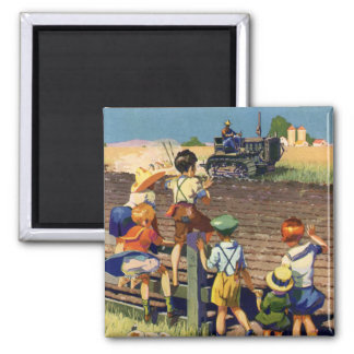 Vintage Kinder, die zum lokalen Bauern auf Traktor Quadratischer Magnet