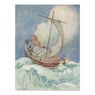 Vintage Kinder im Boot durch Anne Anderson Poster