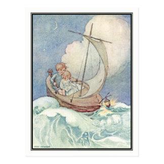 Vintage Kinder im Boot durch Anne Anderson Postkarte