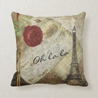 Vintage klassische Paris-Art - Rote Rose Kissen