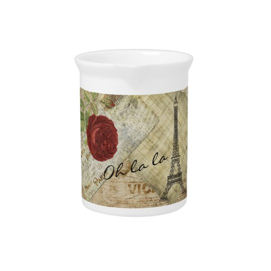 Vintage klassische Paris-Art - Rote Rose Krug