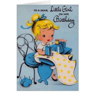 Vintage kleines Mädchen-Geburtstags-Karte Grußkarte