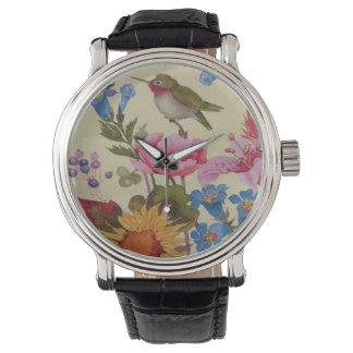 Vintage Kolibri-Freund-wilde Blumen Armbanduhr