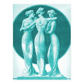 Vintage Korsetts, Türkis mit drei Umgangsformen Postkarten