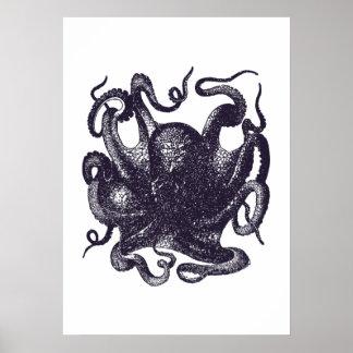 Vintage Kraken-Illustration Poster