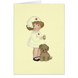 Vintage Krankenschwester mit Welpen-T - Shirts und Grußkarte