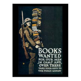 Vintage Kriegs-Postkarten, Bücher gewollt Postkarte