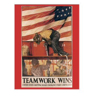 Vintage Kriegs-Postkarten, Teamwork-Gewinne Postkarte