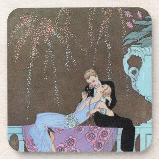 Vintage Kunst Deco Fireworks Le Feu, George Cocktail Untersetzer