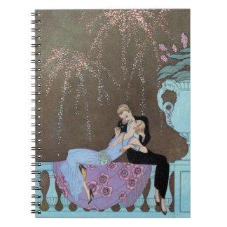 Vintage Kunst Deco Fireworks Le Feu, George Spiral Notizblock