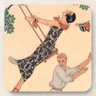 Vintage Kunst-Deko-Liebe, das Schwingen durch Getränke Untersetzer