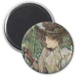 Vintage Kunst, Frau mit Handschuhen durch Toulouse Runder Magnet 5,1 Cm