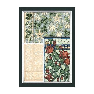Vintage Kunst Nouveau, Blumen Columbines Aquilegia Leinwanddruck
