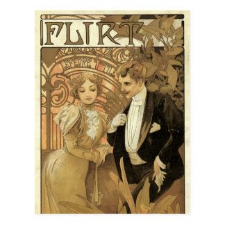 Vintage Kunst Nouveau Liebe Romance, Flirt durch Postkarte