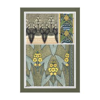 Vintage Kunst Nouveau Pfeilspitzen-Garten-Blumen Leinwanddruck