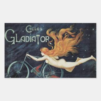 Vintage Kunst Nouveau Redhead-Frauen-Gladiator-Zyk Rechrteckaufkleber