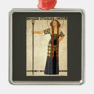 Vintage Kunst Nouveau Richard Strauss-Woche. Quadratisches Silberfarbenes Ornament