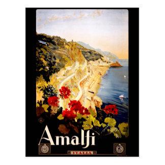 Vintage Küste Reise-Amalfis Italien Postkarte