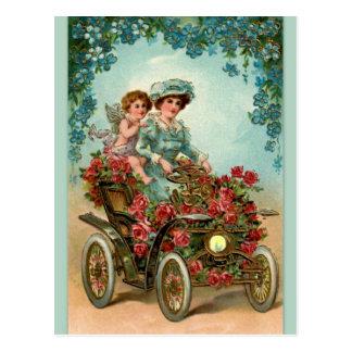 Vintage Lady fährt Auto mit Engel Postkarte