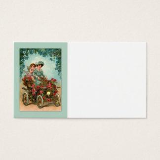 Vintage Lady fährt Auto mit Engel Visitenkarte