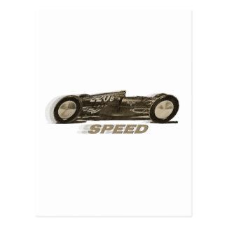 """Vintage laufende Sport-Auto """"GESCHWINDIGKEIT"""" Postkarten"""