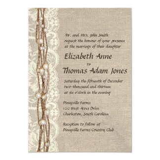 Vintage Leinwand-Spitze perlt Hochzeits-Einladung 12,7 X 17,8 Cm Einladungskarte