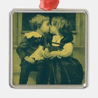 Vintage Liebe und Romance Foto, Kinderkuß Silbernes Ornament