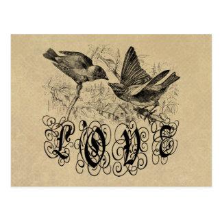 Vintage Liebe-Vögel Kleid und Geschenke Postkarte