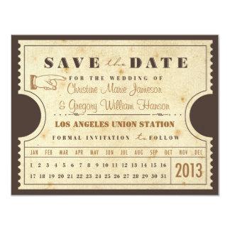 Vintage Lochkarte-Karte Save the Date 10,8 X 14 Cm Einladungskarte