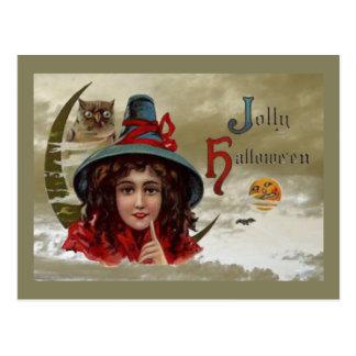 Vintage lustige Halloween-Hexe-Postkarte Postkarte