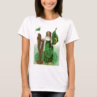 Vintage Mädchen-Harfe der Erin St Patrick T-Shirt