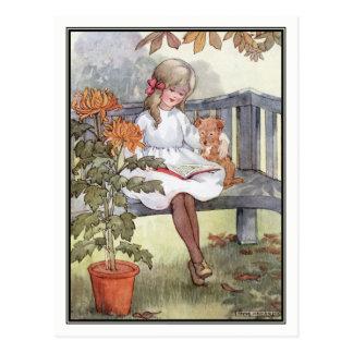 Vintage Mädchen-Lesung mit Hund durch Anne Postkarte