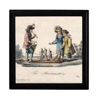 Vintage Marionetten-Marionetten-Show Große Quadratische Schatulle