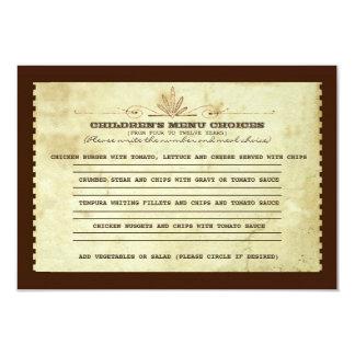Vintage Menüwahl der Kinder für wedding 8,9 X 12,7 Cm Einladungskarte
