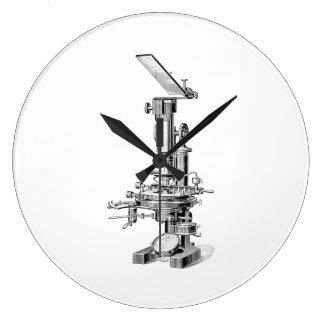 Vintage Mikroskop-Illustration Retro Steampunk Wanduhr