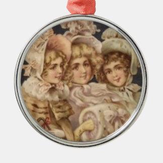 Vintage Mode-viktorianische Weihnachtsverzierung Silbernes Ornament