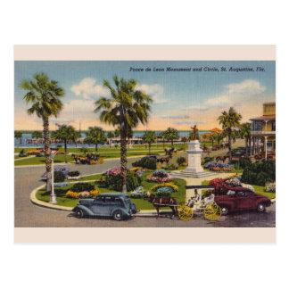 Vintage Monument-Florida-Postkarte Ponce Des Leon Postkarte