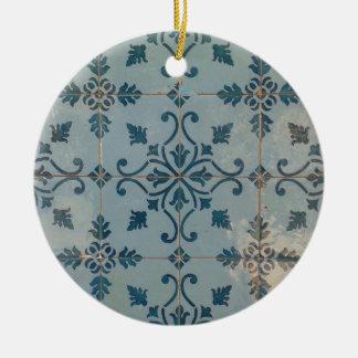 Vintage Mosaiken Portugals Rundes Keramik Ornament
