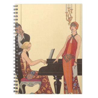Vintage Musik, Kunst-Deko-Pianist-Musiker-Sänger Spiral Notizblock