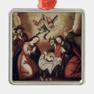 Vintage Nativity-Verzierung 4 Quadratisches Silberfarbenes Ornament