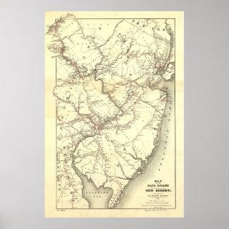 Vintage New-Jersey Eisenbahn-Karte (1869) Poster