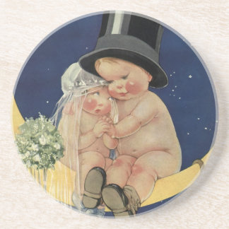 Vintage niedliche Baby-Braut und Bräutigam auf Getränke Untersetzer