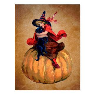 Vintage niedliche Halloweenhexe und -katze Postkarte