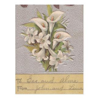Vintage Osterlilie Postkarte