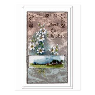 Vintage Osterlilien und Bauernhof Postkarte