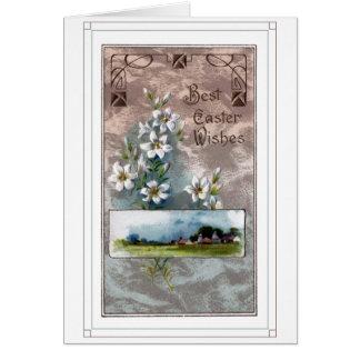 Vintage Osterlilien-und Bauernhof-Szene Karte