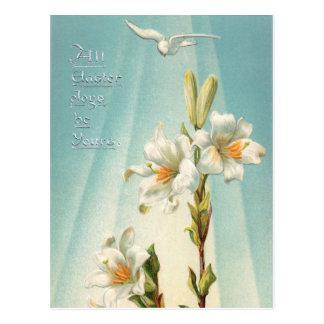Vintage Osterlilien und Taube Postkarte