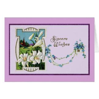Vintage Osterlilien-Vignette Karte