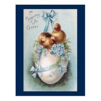 Vintage Ostern-Küken auf hängendem Ei Postkarte