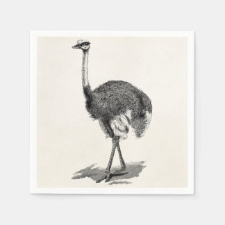 Vintage Ostrich-Vogel-Antiken-Vogel-Schablone Papierserviette